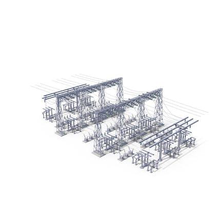 Líneas eléctricas de sitio industrial