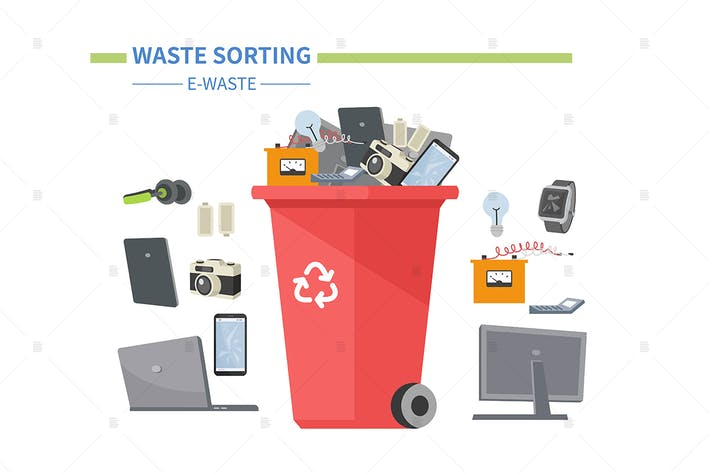 Thumbnail for E-waste sorting - flat design style illustration