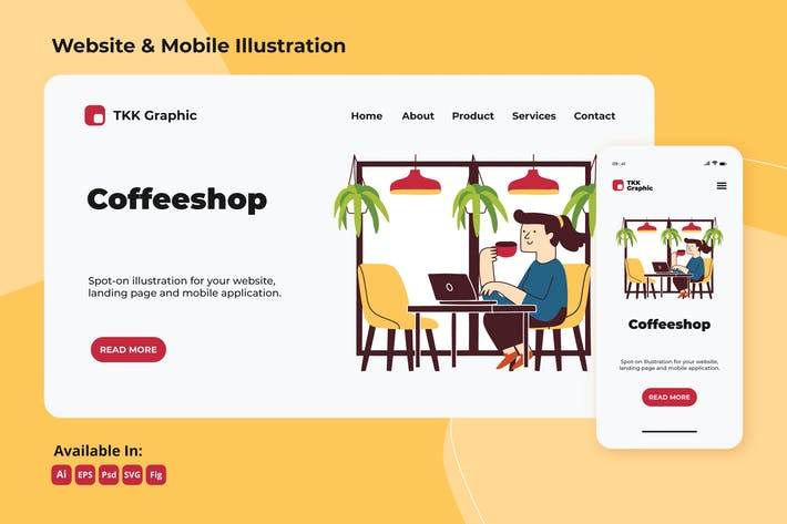 Thumbnail for Arbeiten im Coffee-Shop Web und Mobile Design
