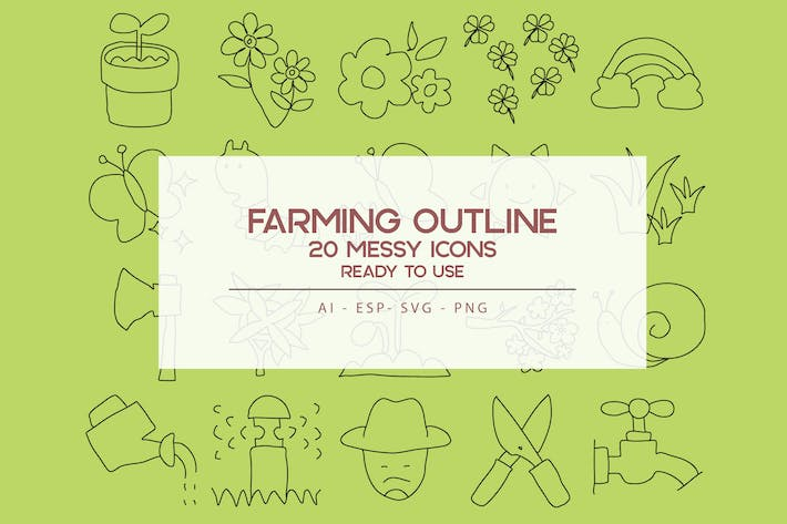 Thumbnail for Farming Outline Icons Set