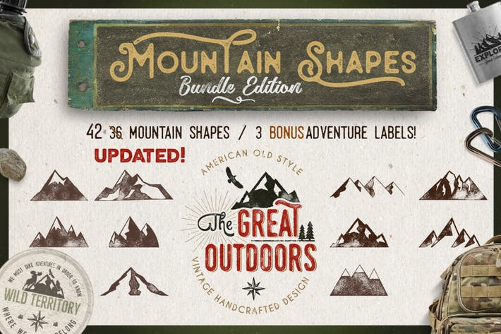 Thumbnail for Mountain Shapes Bundle & Vintage Labels