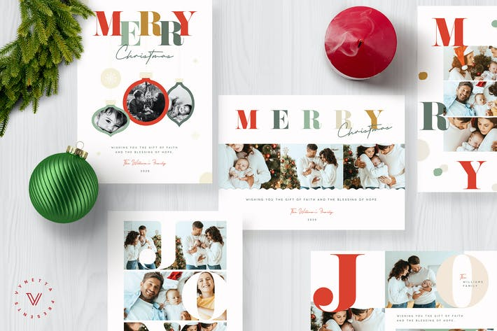 Thumbnail for Colourful Typography Christmas Card