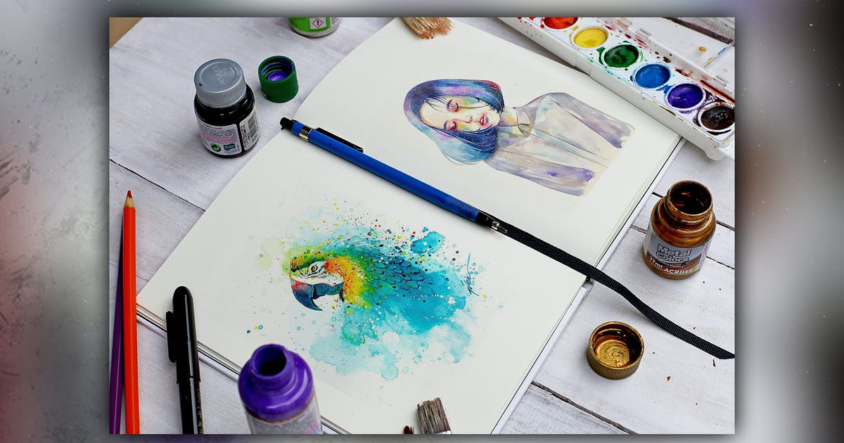 Download Watercolor Book Mock Up by RetroBox