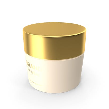 Tarro de crema cosmética dorado