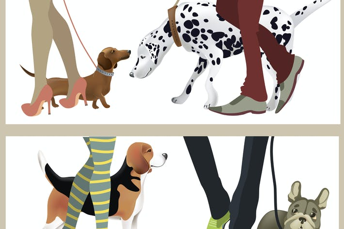 Cover Image For Cute dogs with their owners. Vector illustration