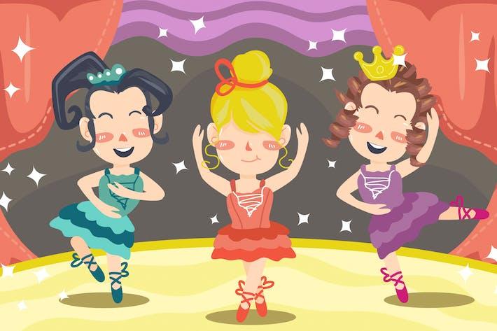 Thumbnail for Dancing Ballerina Kids Illustration