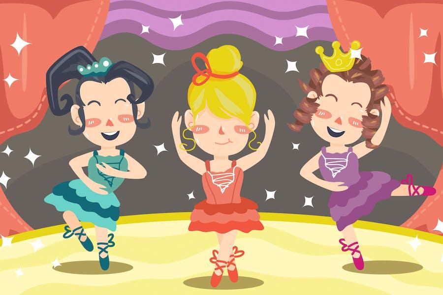 Dancing Ballerina Kids Illustration
