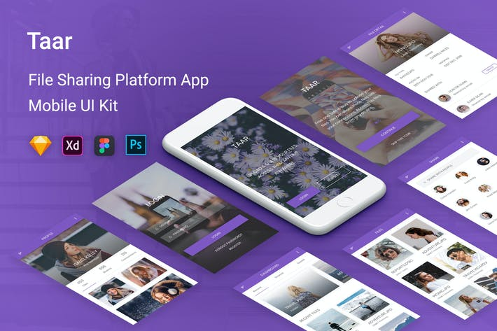 Thumbnail for Taar - File Sharing Platform UI Kit Mobile App
