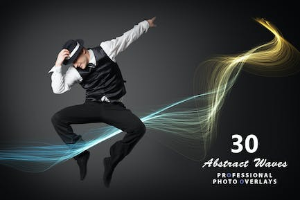 30 Abstract Waves Photo Overlays