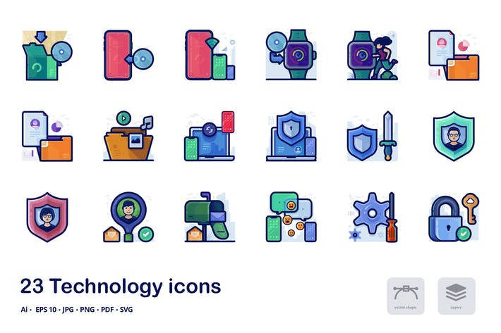 Cover Image For Technology detailed filled outline icons