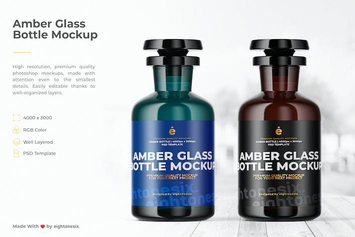 Thumbnail for Amber Glass Bottle Mock-Up Template