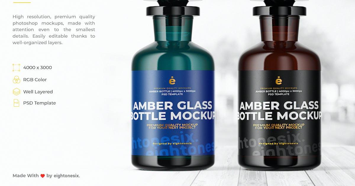 Download Amber Glass Bottle Mock-Up Template by EightonesixStudios