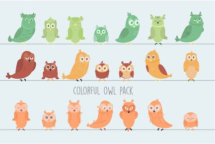 Colorful Owls Illustration Pack