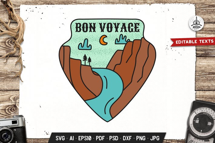 Cover Image For Bon Voyage Badge, Vector Adventure Retro Graphic