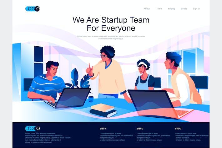 Thumbnail for Isometrische Landingpage für Startup Team