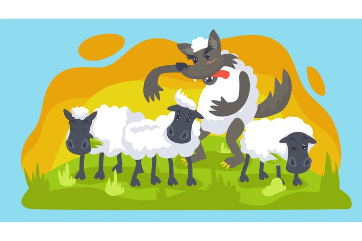 Thumbnail for Wolf and Sheep Kids Illustration