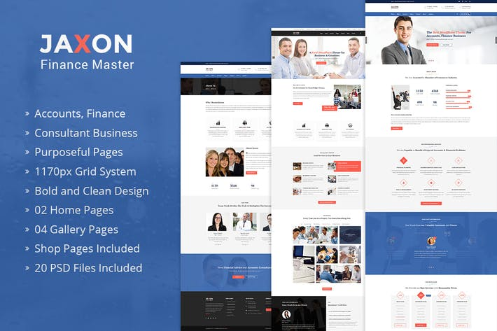 Thumbnail for Jaxon – Accounts Finance Consulting PSD Template
