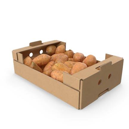 Cardboard Box With Sweet Potatoes