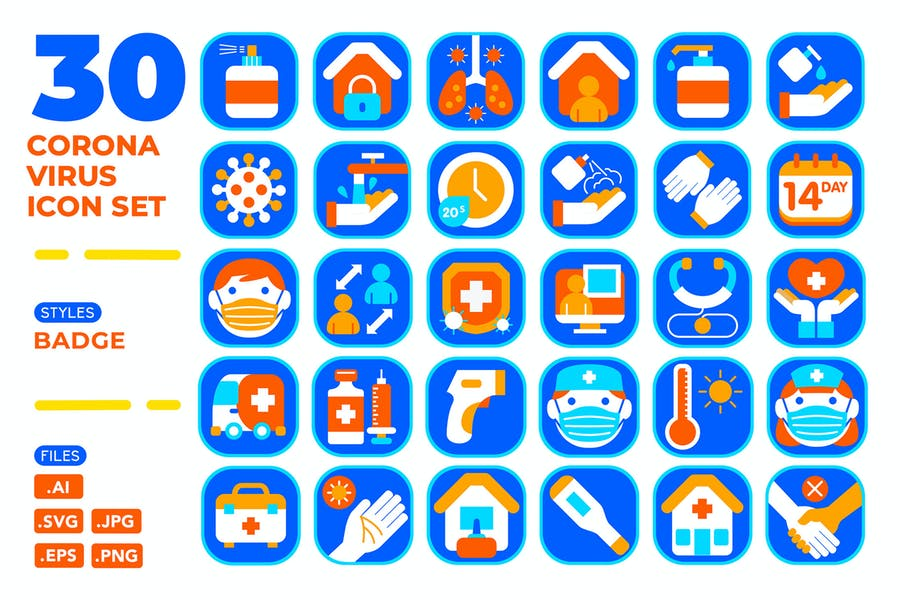 Coronavirus Icon Set (Badge)