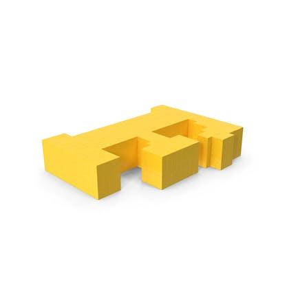 Stilisierter Cartoon Voxel Pixel Art Buchstabe F auf Boden