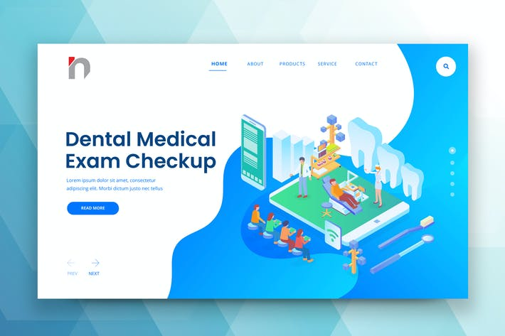 Thumbnail for Isometric Dental Web PSD and AI Vector Template