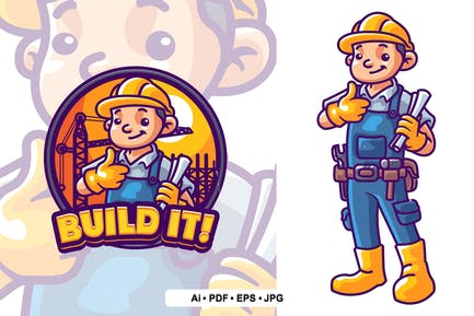 Builder Mascot Logo Template