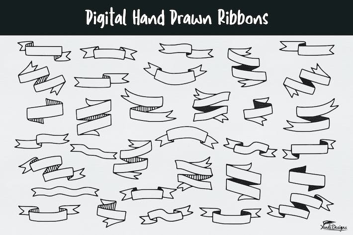 Thumbnail for Digital Hand Drawn Ribbons