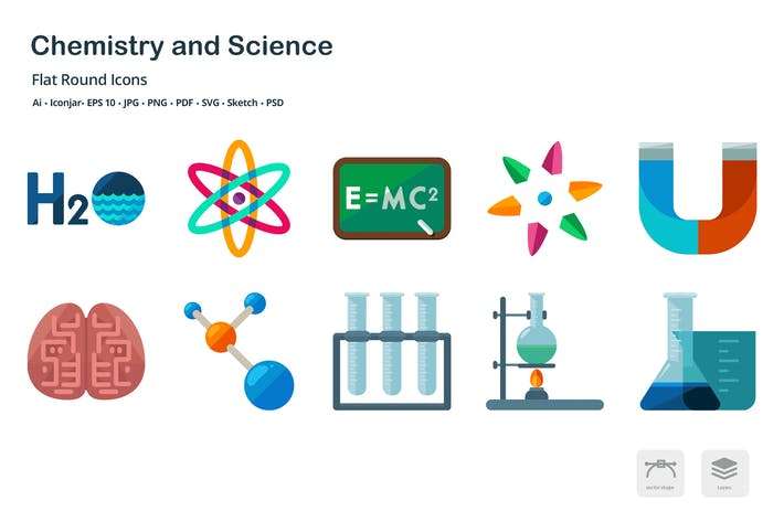 Thumbnail for Chemistry and Laboratory Flat Colored Icons