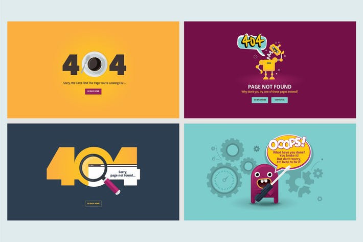 Thumbnail for Set of flat designs for 404 error page