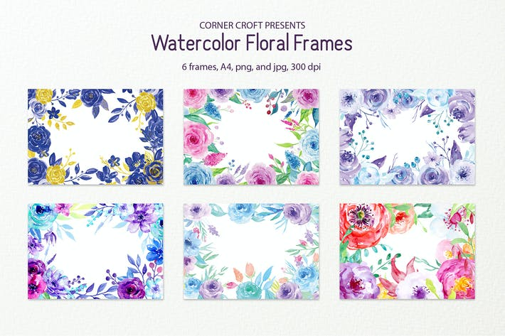 Thumbnail for Watercolor Floral Frame Blue and Purple