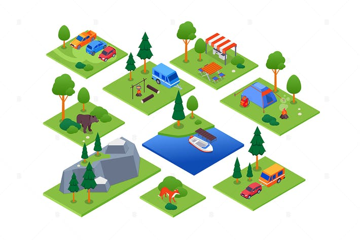 Camping and Tourism - Set of Isometric Elements