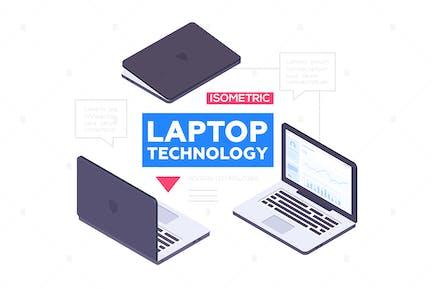 Laptop-Technologie - Vektor isometrische Objekte