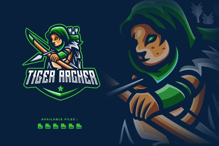 Tiger Archer Sport and Esport Logo