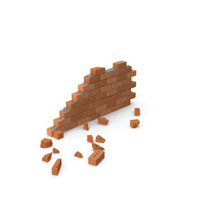 Brick Wall Section with Debris