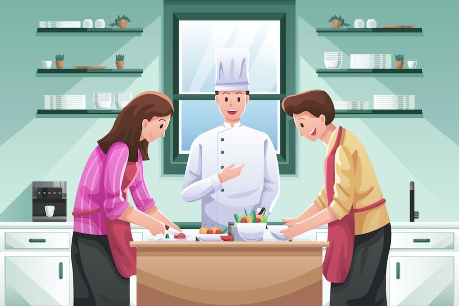 Cooking Together Illustration