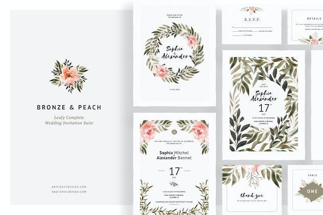 Bronze & Peach Wedding Invitations