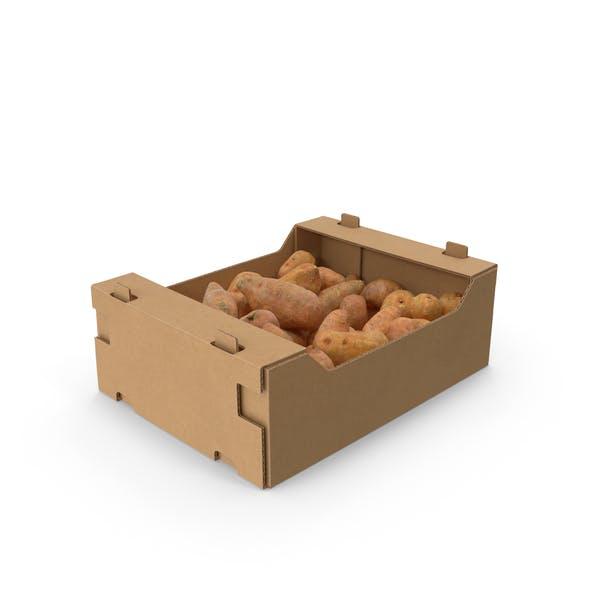 Karton mit Süßkartoffeln