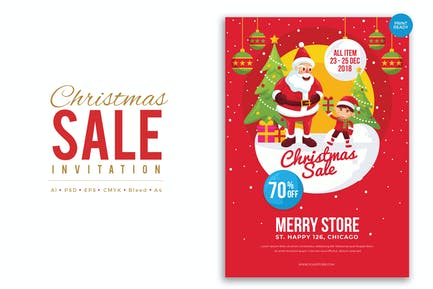 Merry Christmas Sale Flyer PSD and Vector Vol.4