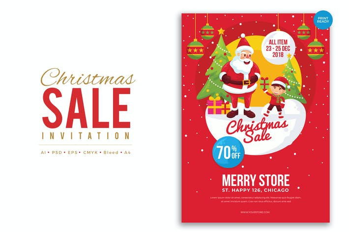 Thumbnail for Merry Christmas Sale Flyer PSD and Vector Vol.4
