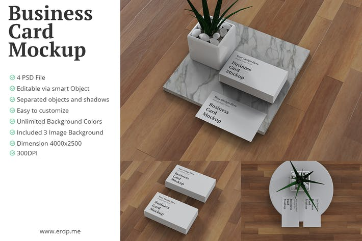 Thumbnail for Business Card Mockup 3D Realistic Rendering