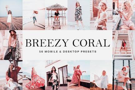 50 пресетов и LUT Breezy Coral Lightroom