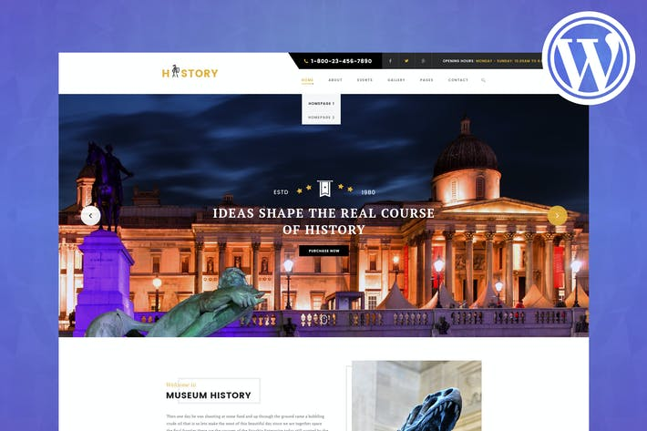 Cover Image For History - Museum & Exhibition WordPress Theme