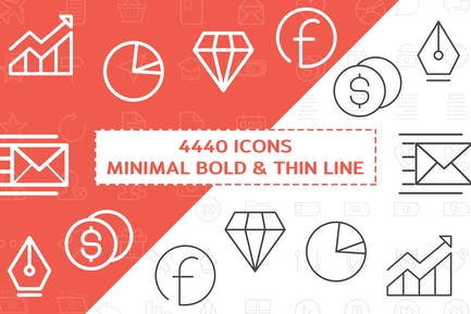 4440 Minimal Bold and Thin Line Icons