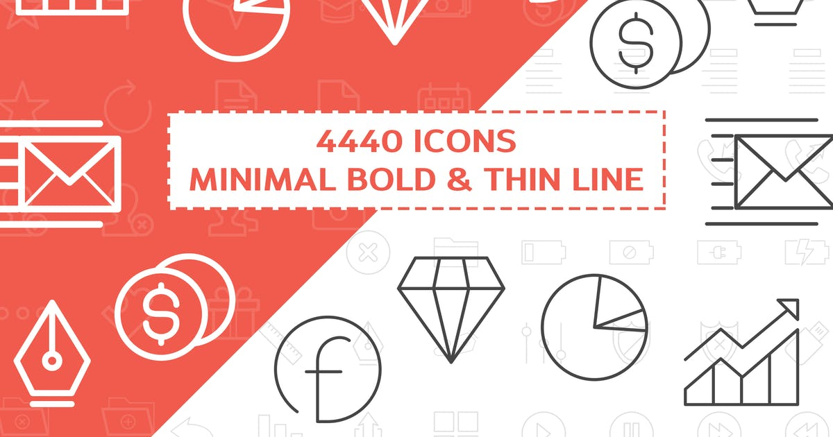 Download 4440 Minimal Bold and Thin Line Icons by iconsoul