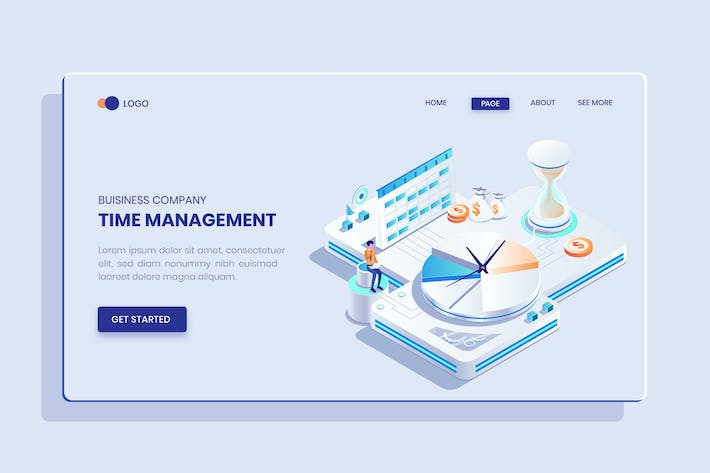 Thumbnail for Business Time Management Isometric Vector