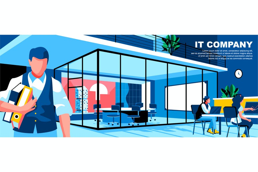 IT Company Flat Concept Landing Page Header