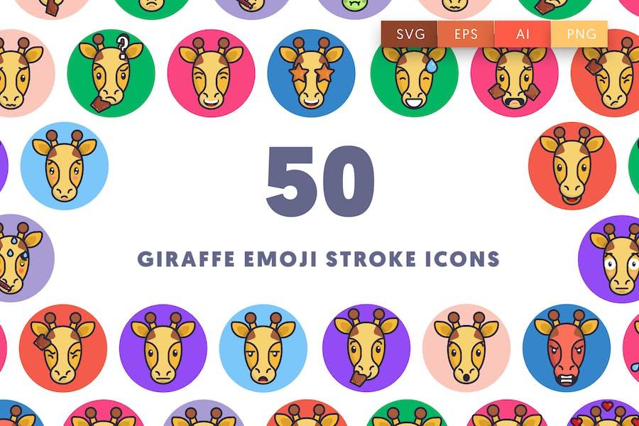 50 Giraffe Emoji Schlaganfall-Symbole