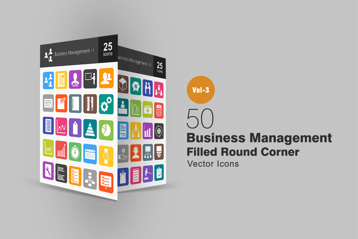 Thumbnail for 50 Business Management Flat Round Corner Icons