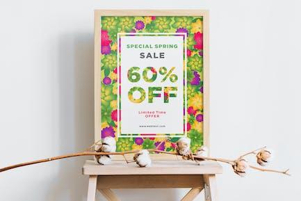 Bunte Blumen Frühling Poster mit weißem Rahmen