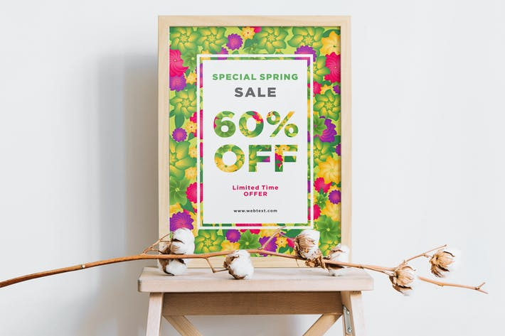 Thumbnail for Colorful Floral Spring Poster with White Frame